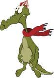 Sad crocodile. Cartoon. Green crocodile in a cap and a scarf vector illustration