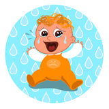 Sad crying baby. Sad baby crying on a tear drops background Stock Photography