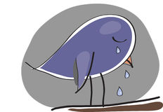 Sad crying bird Royalty Free Stock Image