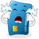 Sad Crying Blue Credit Card Character Stock Image