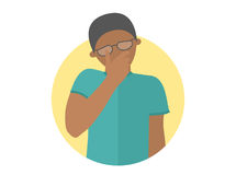Sad, crying, depressed black boy in glasses. Flat design icon. Handsome man in grief, sorrow, trouble. Simply editable isolated on Royalty Free Stock Photos