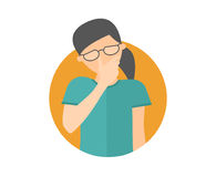 Sad, crying, depressed caucasian girl in glasses. Flat design icon. Pretty woman in grief, sorrow, trouble. Simply editable isolat Royalty Free Stock Image