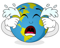 Sad Crying Earth Cartoon Character Stock Images