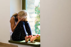 Sad crying girl Stock Image