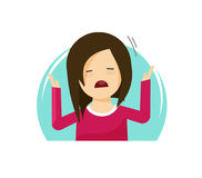 Free Sad Crying Girl Vector Illustration, Flat Cartoon Unhappy Woman Frustrated, Female Kid Tired Or Stressed, Upset Person Stock Photography - 96727982