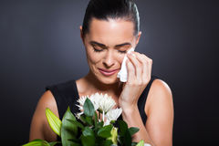 Crying woman funeral Stock Photos