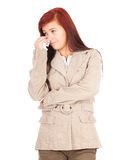 Sad, crying young woman with tissues Royalty Free Stock Image
