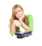 Sad, crying young woman with tissues Stock Images