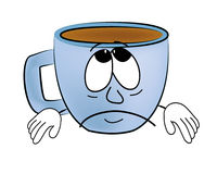 Sad Cup of coffee cartoon Royalty Free Stock Photos