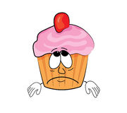 Sad cupcake cartoon Royalty Free Stock Image