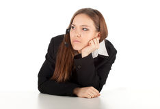 Sad customer service operator girl in headset Royalty Free Stock Photos