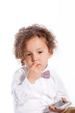 Sad Cute Baby Holding Mobile Phone Royalty Free Stock Photos