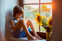Sad cute little toddler child, sitting on a window, playing with. Sunflower on sunset stock image