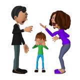 Sad 3d child hearing his parents arguing Royalty Free Stock Photography