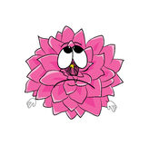 Sad  dahlia flower cartoon Royalty Free Stock Photos