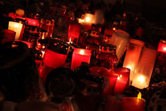 Sad day. Celebration of Havel's death, if people like somebody, there are always many candles stock images
