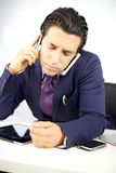 Sad depressed businessman too much work Royalty Free Stock Photo