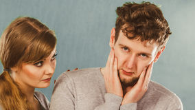 Sad depressed couple portrait. Royalty Free Stock Image