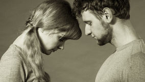 Sad depressed couple portrait. Royalty Free Stock Photography