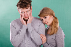 Sad depressed couple portrait. Stock Photos