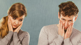 Sad depressed couple portrait. Stock Images
