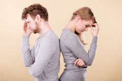 Sad depressed couple portrait. Depression and sadness concept. Unhappy depressed couple after argument. Sad women and disappointed men standing together Royalty Free Stock Photos