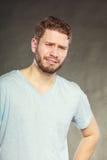 Sad depressed handsome man guy crying. Stock Photography