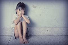 Sad and depressed little girl Royalty Free Stock Image