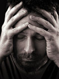 Sad depressed and lonely man. Closeup portrait of sad depressed and lonely man Royalty Free Stock Photo