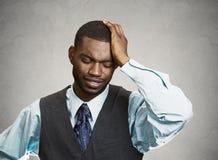 Sad, depressed man. Closeup portrait man with sad expression, isolated on grey, black background. Human emotions, body language, life perception Stock Photos