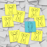 Sad Depressed Person Stands Alone - Sticky Notes stock photography