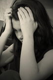 Sad depressed teen girl royalty free stock photography