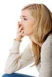 Sad and depressed woman. Royalty Free Stock Photo