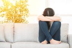 Sad depressed woman at home Royalty Free Stock Image