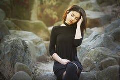 Sad depressed woman outdoor stock photo