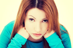 Sad depressed woman portrait Royalty Free Stock Image