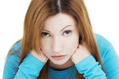 Sad depressed woman portrait Royalty Free Stock Images