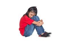 Sad And Depressed Young Asian Girl IV. Sad and depressed young Asian girl over white background Stock Photos