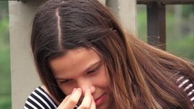 Sad Or Depressed Young Girl stock video footage