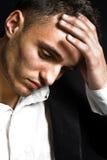Sad depressed young man. Closeup portrait of sad depressed young man royalty free stock image