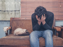 Sad and depressed young man with cat on sofa. A sad and depressed young man is sitting on a sofa with a cat and his head buried in his hands Royalty Free Stock Photos