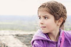 Sad and desperate little girl. Loneliness Stock Photos