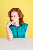 Sad Despondent Redhead Beauty Stock Image