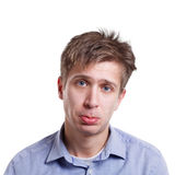 Sad disappointed man looking to camera isolated on white background. Facial expressions. Sad disappointed man looking to camera isolated on white background Royalty Free Stock Photos