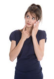 Sad and disappointed young woman talking on phone. Royalty Free Stock Photography
