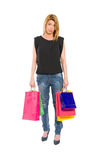Sad and dissapointed shopping woman Royalty Free Stock Photo