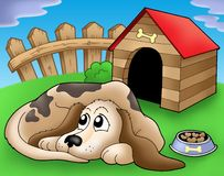 Sad dog in front of kennel 1. Color illustration Royalty Free Stock Photography