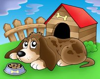 Sad dog in front of kennel 2. Color illustration Stock Photo