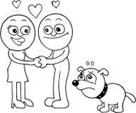 Sad Dog Jealous. Hand drawn cartoon of sad dog jealous of masters romance Stock Photos