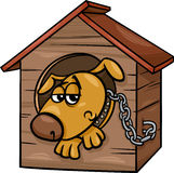 Sad dog in kennel cartoon illustration Royalty Free Stock Images
